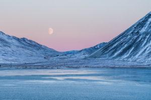 Mountains, lake and moon